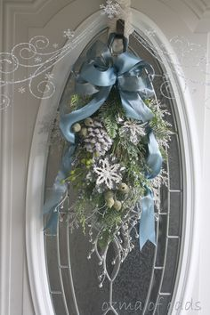 Pretty Blue and White Christmas Wreath