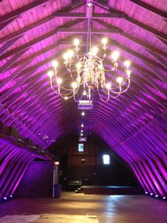 Up-lighting at The Barn at Perona Farms for your rustic wedding