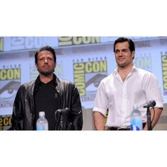 Ben Affleck, Henry Cavill Surprise Comic-Con With 'Batman v Superman'... ❤ liked on Polyvore featuring dc comics