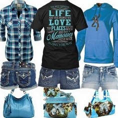 Blue black & camo. 3 different outfits.  Love love love!