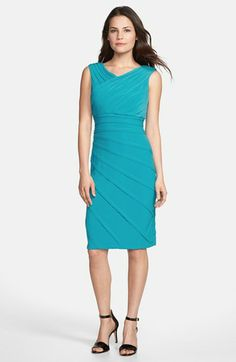Adrianna Papell V-Neck Shutter Pleat Sheath Dress available at #Nordstrom