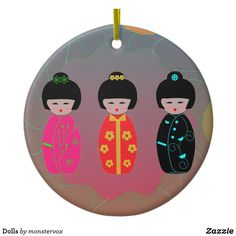 Dolls Ceramic Ornament #Doll #Asian #Asia #Japan #Japanese #Sticker