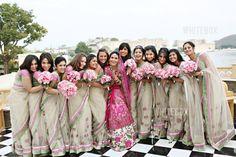 bridesmaid sarees: with red+gold wedding sari, have the bridesmaids' saris have light red borders