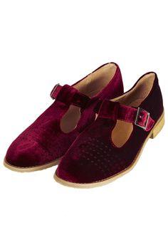 MOLLY2 Velvet T-bar Geek Shoes - Flats - Shoes - Topshop