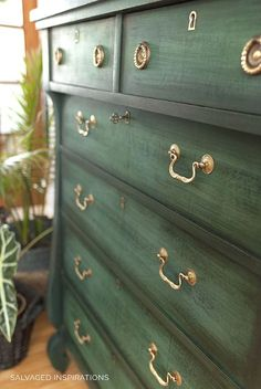 Layered Chalk Paint Close Up Dresser by Salvaged Inspirations Green Painted Furniture, Refurbished Furniture, Repurposed Furniture, Furniture Makeover, Dresser Makeovers, Dresser Ideas, Distressed Furniture, Chalk Paint Dresser, Chalk Paint Furniture
