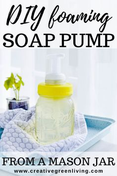 This easy DIY mason jar soap pump tutorial is easy to follow. Mason jars are cute and abundant - and hold lots of soap! This project is perfect for large families or for just refilling your soap pump less often. Article includes step-by-step instructions for how to make a mason jar soap dispense with a foaming pump Diy Soap Pump, Mason Jar Soap Pump, Plastic Mason Jar Lids, Mason Jar Diy, Foaming Hand Soap Dispenser, Large Families, How To Make Diy, Diy Cleaning Products, Diy Ideas