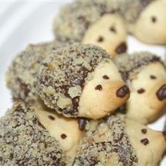 OH.MY.GOSH...Hedgehog cookies. Simple butter cookie recipe, pinch end for shape, bake, then dip in chocolate and roll in something crunchy. (nuts, coconut, candy) pipe on eyes and nose. :D