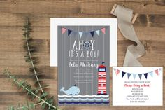 """AHOY! It's a boy!! Aren't these 5x7"""" nautical themed invitations adorable?! The watercolor design is fun and whimsical, perfect for your next shower! Available as a DIY printable or printed+shipped at www.etsy.com/shop/junearbordesigns #ahoyitsaboy #nautical #nauticalbabyshower #nauticalinvitation #undertheseababyshower #babyshoweridea #nauticaltheme #babyshowerinspiration #DIYbabyshower #etsy #babyshowerinvitation #babyboy #sailboatinvitation #grayandnavy #whale #buntingbabyshower"""