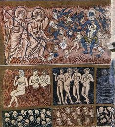 detail of The Last Judgment- 12th century Byzantine mosaic from the Basilica of Torcello, Venice