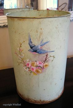 How sweet it is! Vintage pail for flowers original minty green paint with blue bird painting. $50.00, via Etsy. (SOLD)