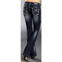Rock & Roll Cowgirl Mixed Abstract Jeans - Bootcut, Low Rise (For Women) in Dark Wash