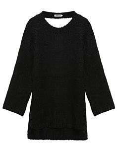 Long Sweater Dress, Boyfriend Style, Black Media, Black Sweaters, Pullover Sweaters, Backless, Crew Neck, Fashion Outfits, Knitting