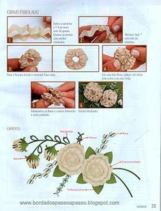 Carnations in ric rac incorporated into a lovely embroidered design • Lovely site with lots of embroidery ideas.