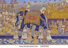 stock-photo-colorful-indian-mural-in-the-fort-at-jodhpur-showing-a-royal-procession-including-elephant-and-11805562.jpg (450×320)