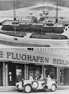 Berlin, Flughafen Tempelhof / Fotos, 1928 Berlin-Tempelhof, Zentralflughafen Berlin-Tempelhof.  (Oben:) Ansicht des Flughafens nach der Fertigstellung des zweiten Bauabschnitts (Arch.: Paul und Klaus Engler).