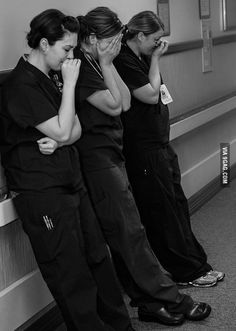 Nurses after a patient suffers a miscarriage.