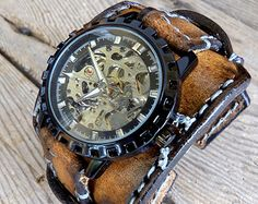 Leather watch for men's Skeleton Leather by CuckooNestArtStudio