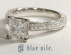 Cathedral Pavé Princess Cut Diamond Engagement Ring in Platinum #BlueNile