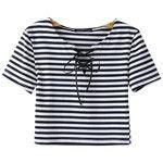 Chicnova Fashion Lace-up Cropped T-shirt in Stripe Print