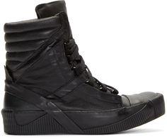 Boris Bidjan Saberi - Black Calf Leather Bamba 4 Sneakers