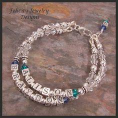 Sterling Silver Name Bracelet with Swarovski Crystals