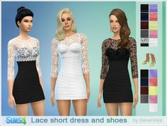 Sims by Severinka: Lace short coctail dress and shoes • Sims 4 Downloads