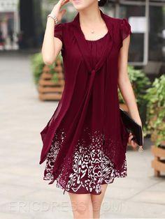 Ericdress Print Short Sleeve Straight Casual Dress Casual Dresses