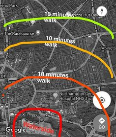 Walking distances from waterside according to landlords/anyone trying to shift a room