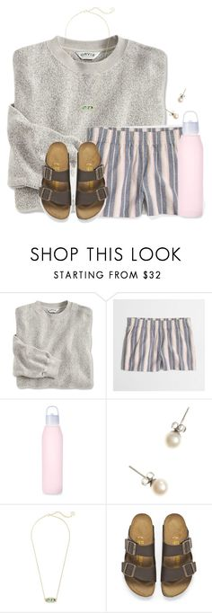"""""""Have a HUGE headache right now:("""" by flroasburn ❤ liked on Polyvore featuring J.Crew, Kendra Scott and Birkenstock"""