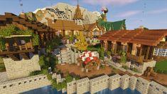 Minecraft Dogs, Minecraft Designs, Minecraft Stuff, Minecraft Castle Walls, Minecraft Blueprints, Construction, House Styles, World, Building