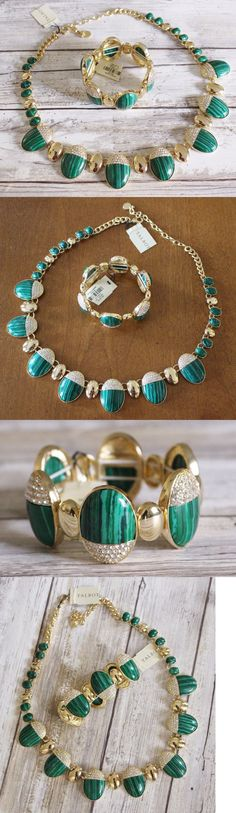 Jewelry Sets 50692: Talbots New Emerald Green Split Bead Gold Pave Capped Necklace Bracelet Set Nwt BUY IT NOW ONLY: $44.99