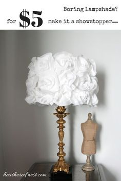 Plain Jane lampshade Turn it into a stunner with this 5 DIY Fabric Flower Lampshade Tutorial from Heathered Nest Lush Diy, Diy Flowers, Fabric Flowers, Flower Diy, Shade Flowers, Lamp Makeover, Ideas Geniales, Lamp Shades, Flower Lampshade