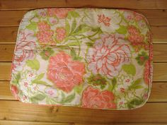 Vintage Bed Standard Pillow Cover Silky Green Pink Floral Quilted | eBay