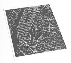 New York City - Manhattan Map Art Print / NYC Poster Art Print / 8x10 Abstract Line Art Digital Print / Any color