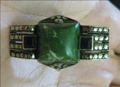 THE RAT STUFF: Deco Fahrner Sterling Green Turquoise Onyx Marcasite Ring