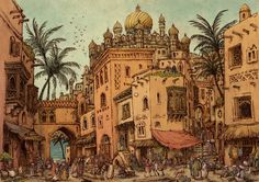 Medieval arabic city - the Market by Hetman80.deviantart.com on @DeviantArt Medieval Market, Medieval Town, Medieval Fantasy, Fantasy City, Fantasy Places, City Drawing, Steampunk, City Painting, City Illustration