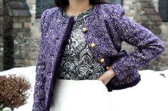 Lace-Printed Sweatshirt with Tweed