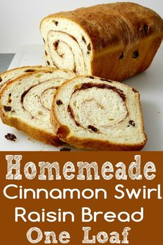 bread recipes sweet Homemade Cinnamon Swirl Raisin Bread is full of plump raisins and spiced with sweet sugar and cinnamon. Its perfect as toast slathered with butter. This recipe m Bread Maker Recipes, Best Bread Recipe, Easy Bread Recipes, Gluten Free Raisin Bread Recipe, Healthy Homemade Bread, Butter Bread Recipe, Breakfast Bread Recipes, Recipe Tasty, Loaf Recipes