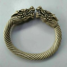 Fashion Jewelry Jewelry & Watches China Old Tibet Silver Hand Carving Dragon Bracelet Gift Collection Y
