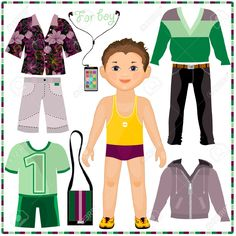 Paper Doll Boy Clothes Paper doll with a set