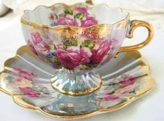 Vintage Royal Halsey footed tea cup - get vintage tea cups and pots tattooed.for the love of tea! Vintage Cups, Vintage China, Teapots And Cups, China Tea Cups, My Cup Of Tea, Tea Cup Saucer, High Tea, Afternoon Tea, Tea Time