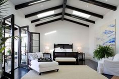 Black beams, black trim, & white walls