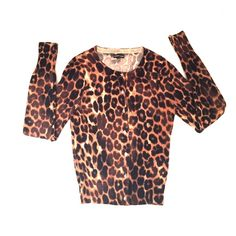 Beautiful leopard sweater! Gorgeous rhinestone button down sweater! Reminds me of a beautiful vintage piece! Express Sweaters Cardigans