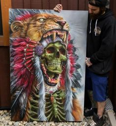 Draw Lions Awesome airbrush painting of Lion hunter done by artist Derek Turcotte from Canada Airbrush Art, Animal Drawings, Art Drawings, Indian Skull Tattoos, Native Tattoos, Air Brush Painting, Arte Pop, Native Art, Skull Art