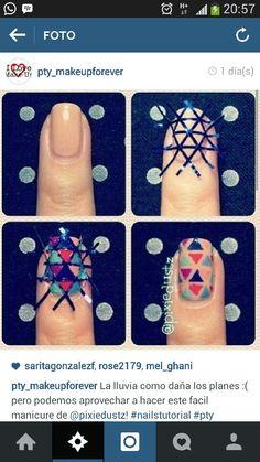 Chic Nail Tutorials for the Week - Pretty Designs : Criss-cross nail tape! Fun bright nail look! Chic Nails, Love Nails, How To Do Nails, Fun Nails, Pretty Nails, Cute Nail Art, Nail Art Diy, Triangle Nails, Cross Nails