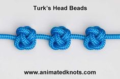 How to tie a Turk's Head and other animated knot tying tutorials.this knot might be good for rosaries. Paracord Tutorial, Paracord Knots, Rope Knots, Macrame Tutorial, Macrame Knots, Micro Macrame, Animated Knots, Beaded Beads, Paracord Projects