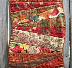 Curved Fall Table Runner Wall Hanging Scrappy by atthebrightspot