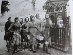 Land Girls with bikes.