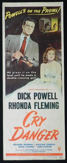 CRY DANGER Movie Poster 1951 Dick Powell Rhonda Fleming RKO Film Noir US Insert Movie poster