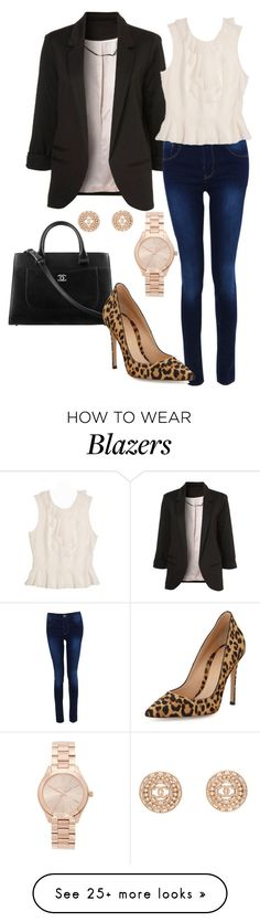 """Black Blazer and Leopard"" by christyaz214 on Polyvore featuring Boohoo, Chanel, Michael Kors and Gianvito Rossi"